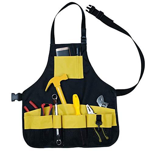 Qinhum Gartenschürze mit Mehreren Taschen Gartenwerkzeugschürze Ärmelloses Werkzeugset Schürze Langlebige Arbeitsschürze für Die Gartenwerkstatt
