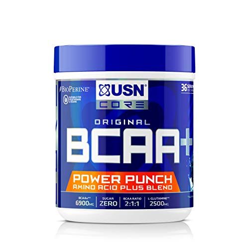 USN BCAA Power Punch, BCAA Powder with Vitamin B6 Intra Workout Amino Drink, Blue Raspberry, 400 g