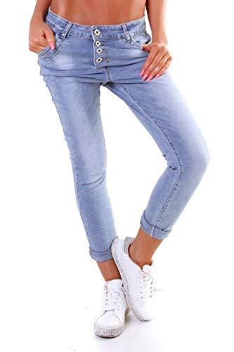 Lexxury 10118 Knackige Damen Jeans Röhrenjeans Hose Boyfriend Style Damenjeans Streetstyle (XL/42, blau)