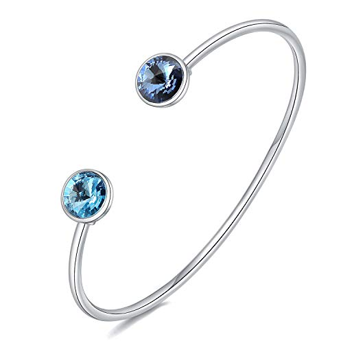 VIENNOIS Crystal Cuff Bangle for Women Silver Tone Birthstone Bracelet Jewelry Gifts