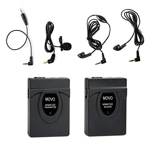Movo 2.4GHz Wireless Lavalier Microphone System for Canon EOS 80D, 77D, 70D, 60D, 50D, 7D, 7D Mark II, 6D, 5DS, 5D, 5D Mark IV, 1D, Digital Rebel SL1, T7i, T6s, T6i, T5i, T4i & T3i DSLR Cameras