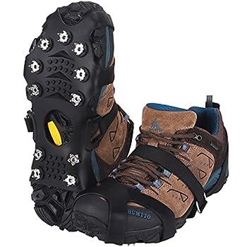 JOOLESER Crampons,Antidérapant sur Chaussures/Bottes 11 Clous à Neige Grips Crampons Clous en Acier Inoxydable antiglisse-Unisexe (L)