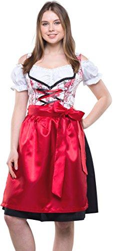 Bavarian Clothes Dirndl Damen Midi Trachtenkleid 8010 mit Dirndlbluse und Schürze 3 teilig Schwarz Rot Weiß Wiesn Oktoberfest (Größe 42)