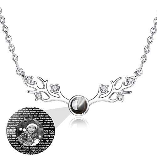 Y.verve Personalized Projection Necklace 100 Different LanguagesI Love You Necklace Customized Photo Necklace Antler Pendant(Silver Black and White 20)