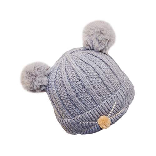 HIOD Bebés Niños Niñas Sombrero de Invierno Sombreros de Punto Cálido Niño Pequeño Niño Bola de Pelo Gorro 3-24 Meses,Gray