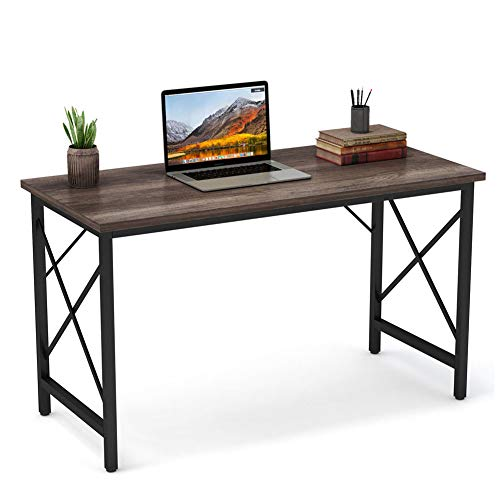 Tribesigns Writing Computer Desk, Modern Simple Computer Table Study Desk, Industrial Vintage Laptop Table for Home Office, Walnut