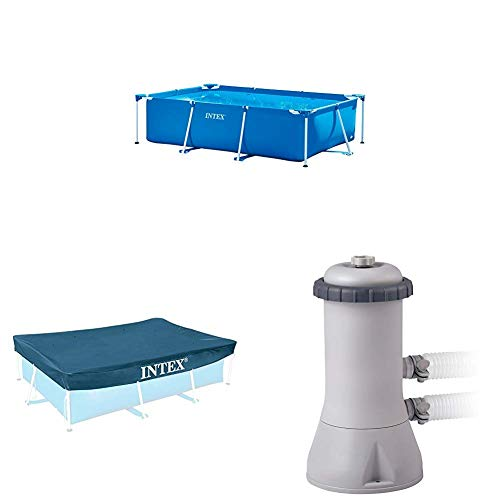 Intex Pool-Set (Pool, Pumpe, Abdeckplane) - Rectangular Frame Pool -Aufstellpool - 300 x 200 x 75 cm + Pool Cover - 300 x 200 cm + Krystal Clear Cartridge Filter Pump - 900 L/H
