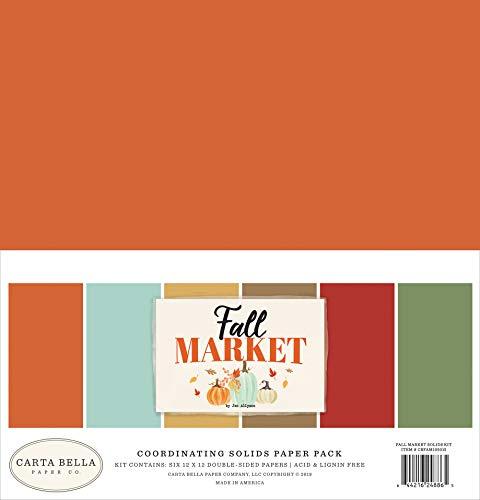 Carta Bella Paper Company CBFAM105015 - Kit de papel para manualidades (papel sólido), color naranja, rojo, verde azulado, crema, marrón, verde
