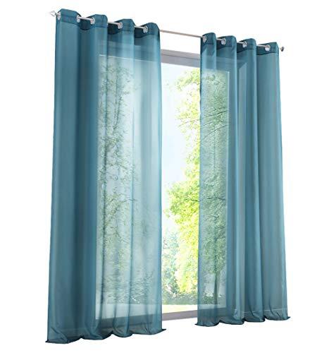 BAILEY JO 1Pièce Rideau Voilage LxH/140x225cm Couleur Uni Bleu Rideaux à Oeillets Décoration de Fenêtre Chambre/Salon/Balcon