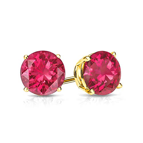 9mm Created Ruby Stud Earrings in 14k Yellow Gold (4.5 CT. T.W.)