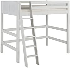 Camaflexi Panel Style Solid Wood High Loft Bed, Twin, Side Angled Ladder, White