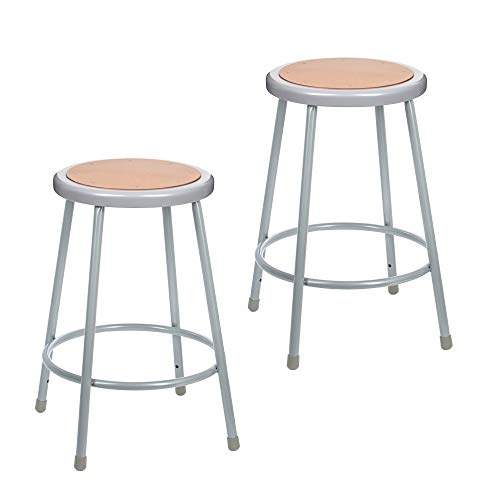 """(2 Pack) OEF Furnishings Grey Shop Stool, 24"""", No Assembly Required"""