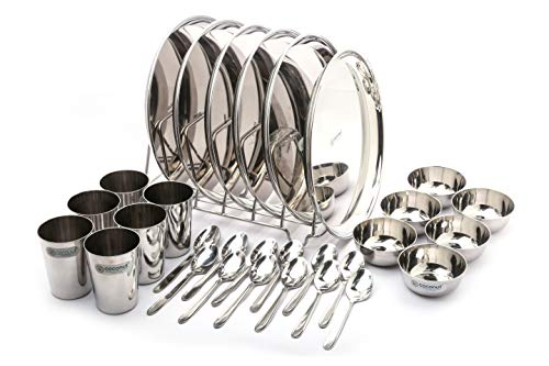 Coconut Stainless Steel (Heavy Guage) Mirror Finish Happy Dinner Set/Dinnerware & Serveware - 30 Pc