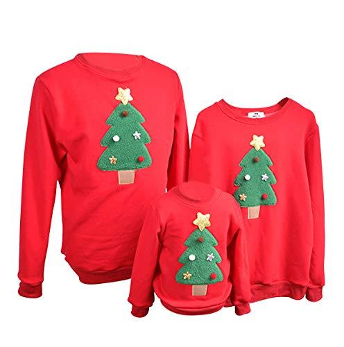 Felpe Natale Famiglia Maglioni Natalizi Felpa Maglie Natalizie Uomo Pullover Natalizio Maglione Natalizia Girocollo Bambina Bambini Donna Senza Cappuccio Renna Coppia Invernali Casual Larghe Rosso