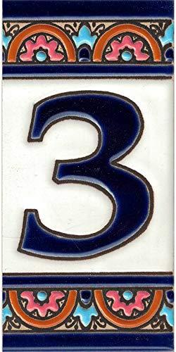 TORO DEL ORO Números casa. Numeros y Letras en azulejo. Ceramica esmaltada, Pintados a Mano técnica Cuerda Seca. Nombres y direcciones. Diseño Arco Azul 5,5x10,5 cms (Número tres '3')