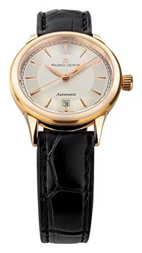 Maurice Lacroix Les Classiques Automatique Date Damen-Armbanduhr Analog Automatik mit schwarzem Lederband LC6003-PG101-130 Gehäuse Rotgold 18 Karat 750