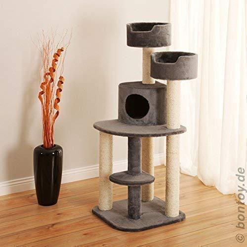 Bontoy Kratzbaum Jerry grau 126 cm, mit 2 Liegekörbchen 35 X 15cm, Sisalstämme mit 9cm Durchmesser. Viel Platz zum entspannen und Spielen.