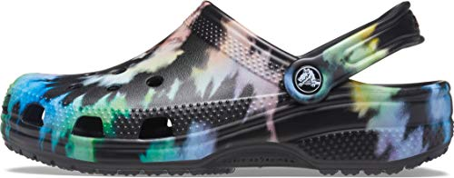 Crocs Classic Tie Dye - Zuecos Unisex, Negro Pastel, 45 EU