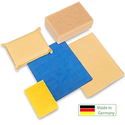 Premium Autowaschset - Hochglanz Auto Set 5 -Teilig Langlebiges Autopflege Waschset Auto - Reinigungsset
