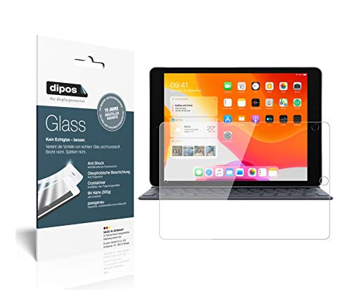 dipos Protector de pantalla transparente compatible con Apple iPad de 10,2 pulgadas (2019), protector de pantalla 9H