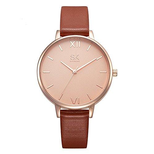 SHENGKE shengke señoras Reloj de Pulsera Creativas Mujeres Relojes Marca Reloj Mujeres Malla Vestido Reloj (Brown)