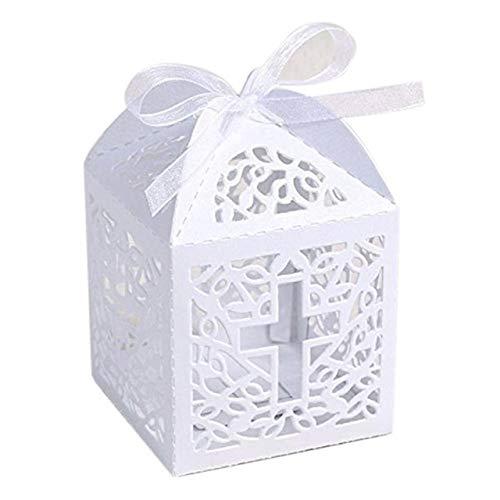 Lot de 50bonbonnières/boîtes à dragées Musuntas en carton en forme de cage à oiseaux Pour mariages, baptêmes, décoration de table, cadeau d'invité, boîte cadeau, bonbonnière - Blanc