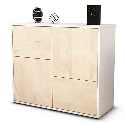 Stil.Zeit Sideboard Carla/Korpus Weiss matt/Front Holz-Design Zeder (92x79x35cm) Push-to-Open Technik