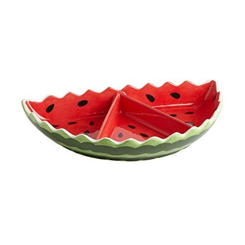 Secret Garden Watermelon 3-Section Ceramic Serving Tray, 7.25-Inch x 12.5-Inch