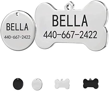 Stainless Steel Pet ID Tags Personalized Dog Tags and Cat Tags 2 Lines of Custom Text Names product image
