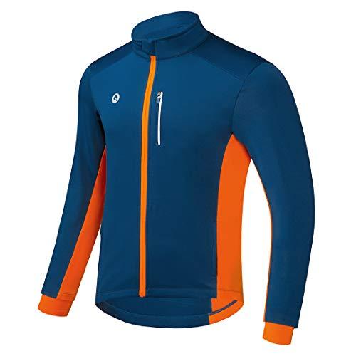 Przewalski Cycling Bike Jackets for Men Winter Thermal Running Jacket Windproof Breathable Reflective Softshell Windbreaker (Blue, Medium)
