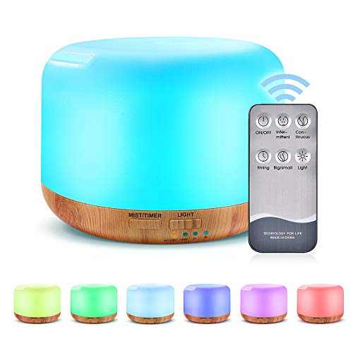 Aroma Diffuser, mixigoo 300ml Luftbefeuchter Ultraschall Leise Duftlampe Öle Diffusor Holzmaserung LED mit 7 Farben Aromatherapie Diffuser für Büro, Schlafzimmer, Yoga, Spa