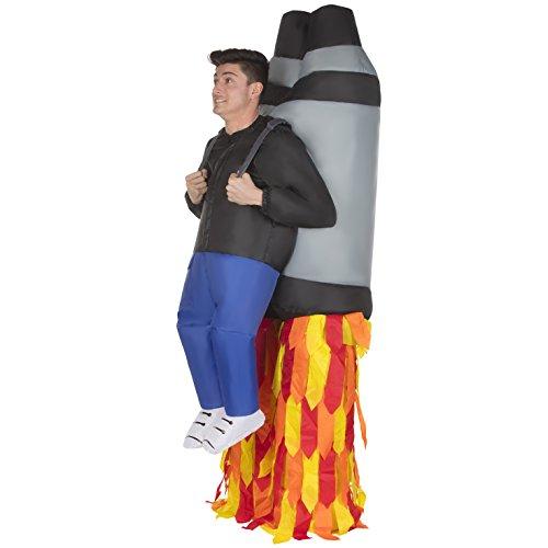Morph Aufblasbares Raketen Kostüm für Erwachsene, Jetpack Verkleidung, lustiges Faschingskostüm Damen Herren - Einheitsgröße