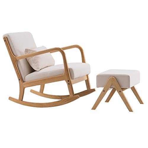 Rocking Chair, Footrest Stool, Nordic A-Type Beige