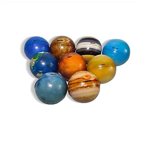 qingyin 9 Piezas De Bolas Elásticas del Planeta del Sistema Solar, Juguetes De Bolas para Apretar El Alivio del Estrés Sensorial, Juguetes Educativos para Aliviar El Estrés para Niños