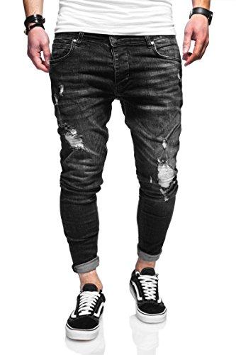 behype. Herren Destroyed Jeans-Hose 80-3496 (33/32, Schwarz)
