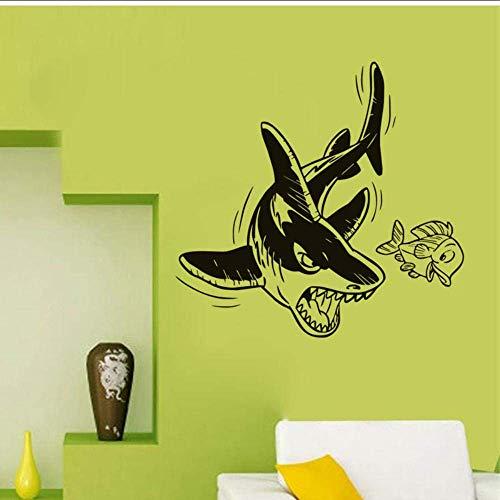Muurstickers Haaienjacht voor voedsel muur Stickers Cartoon haai vangen en doden muur Decal voor huisdecoratie
