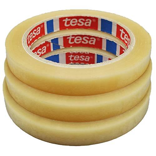 TESA Klebeband Markierungsband tesafilm 4204 PVC, 12mmx66m, transparent, Ideal für Tischabroller und Beutelverschlußmaschinen, 3 Rollen