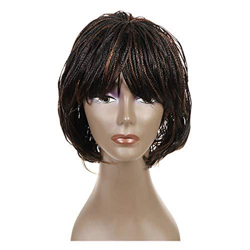 IFLY Perruques synthétiques avant de lacet petite perruque tressée pour les femmes noires perruques courtes 12\