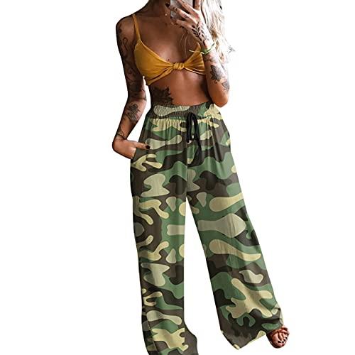 Mujer Pantalones Casuales de Playa Verano Sueltos Hippie Harem Yoga Bohemios de Cintura Pantalones de Nueve Pantalones