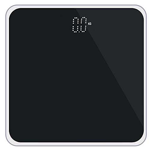 Accurate Digital Electronic Body Weight Scale Steel Protective Glass Pure Color 400 Pound - SHIPS FROM USA (Black)