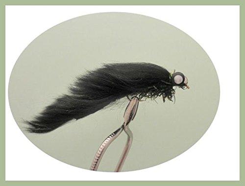 6Stück schwarz Kurzhantel Zonker Größe 10, Forelle Fliegen
