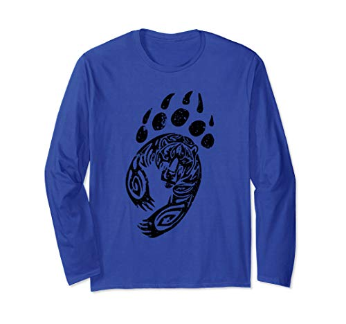 Bear Clothing Paw Print Grizzly Black Claw Boy Girl Kids Long Sleeve T-Shirt