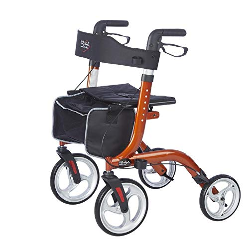 Lifestyle Mobility Aids DLX Venture Euro Style Rollators - Only 15 lbs (Amber Sunrise)