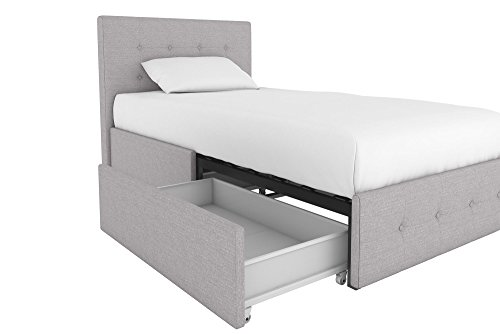 Rose Upholstered Bed with Storage, Grey Linen, Twin