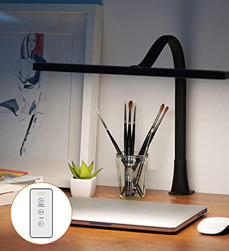 Lámpara Escritorio con Controlador Remoto, Luckycow Flexo LED Escritorio con 3 Modo de Color 10 Niveles de Brillo, 360° Variable Lamparas de Escritorio con USB, Flexos Para Estudio, Oficina, Hogar