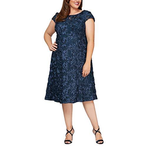 Alex Evenings Women's Plus Size Tea Length Dress with Rosette Detail, Navy A-Line, 14W (Apparel)