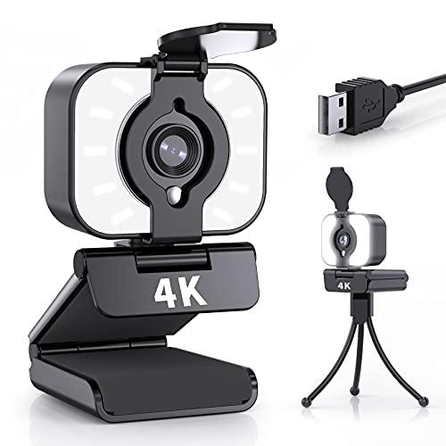Webcam mit Mikrofon, 4K UHD Eingebautes Ringlicht Streaming Webcams für PC, Webkamera mit Stereo Mikrofonr, Stativ, 360° Schwenkradius, USB Kamera für Videotelefonie, Studium, Gaming, Online-Kurse