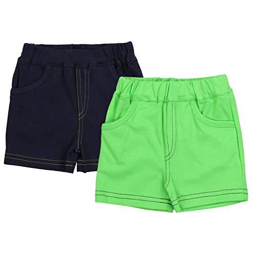 TupTam Jungen Kurze Hose Bermuda 2er Pack, Farbe: Dunkelblau/Grün, Größe: 80 cm