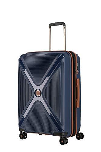 TITAN 4-Rad Koffer Hartschale mit Dehnfalte + TSA Schloss, Gepäck Serie PARADOXX: Hartschalen Trolley mit Akzenten in Leder Optik, 833405-20, 68 cm, 80 Liter (erw. auf 88 Liter), navy (blau)