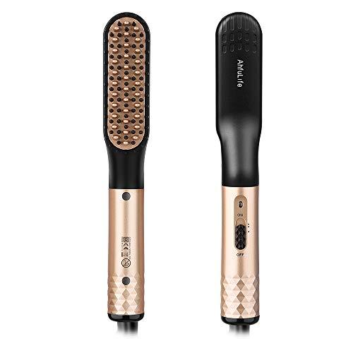 Schnelle Bart kamm Glättes Haar für Männer , AhfuLife Multifunktionale Keramische Kämmen,Elektrische Glätteisen Haarglättung ,mit Anti-Verbrühungsfunktion , Haarstype mit 360 ° Rotation Cord(golden)